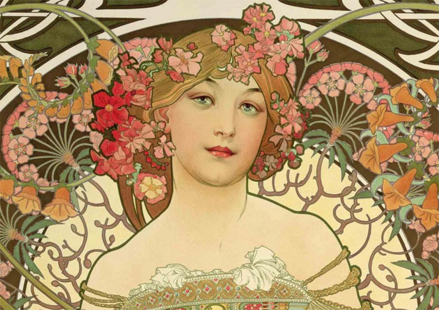 Alfons Mucha, Rêverie (F. Champenois), dettaglio, 1897. Litografia a colori, cm 66,3 × 51, Richard Fuxa Foundation. Foto © Richard Fuxa Foundation