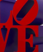 Robert Indiana, LOVE, Red and Violet, 1966-1999, alluminio policromo, cm. 91.5 x 91.5 x 45.75